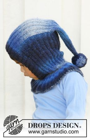 """Knitted DROPS balaclava hat in """"Delight"""" with pompom. Size 3 to 12 years. ~ DROPS Design"""