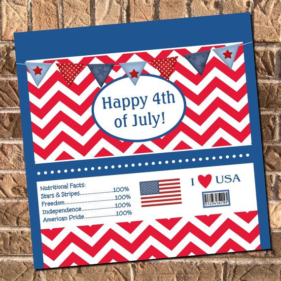 4th of July Red White and Blue Candy Bar Chocolate Bar by Design13, $6.00