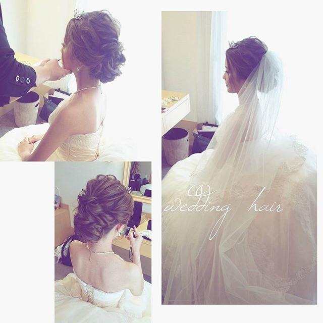 今日のブライダル♡ 今人気のweddingヘアです╰(*´︶`*) #ブライダル #熊本 #マリーグレイス #ヘアアレンジ #熊本ヘアセット #osumiブライダル  #結婚式準備 #プレ花嫁 #ヘアメイク #ブライダルヘア  #ウェディング #hair #hairstyle
