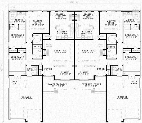 The 25 best duplex floor plans ideas on pinterest for Ranch style duplex plans