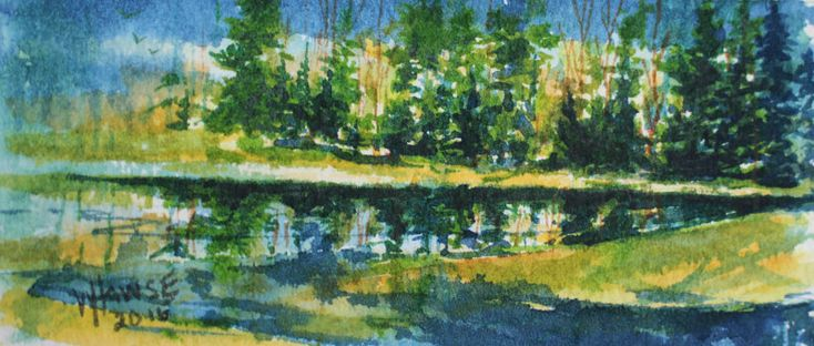At Bob's Lake. A Series of Miniatures  Number 1  A Glimpse into my World,   At Bobs Lake, Watercolour,  2 inches X 4.25 inches. Matted