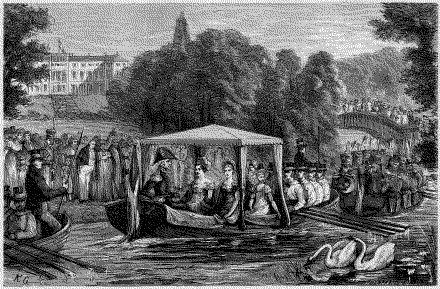 Admiral Frederik 6. på sejltur i sin elskede Frederiksberg have. J. Davidsen: Fra det gamle Kongens København