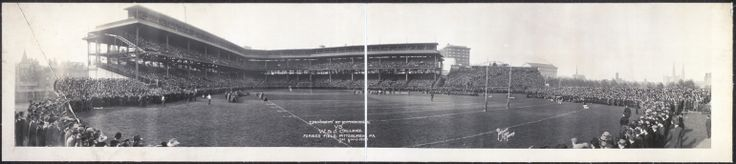 COLLEGE FOOTBALL: Pittsburgh's new baseball park, Forbes Field, is converted for a football game between the University of Pittsburgh and Washington & Jefferson College, November 6, 1913. [team photo]