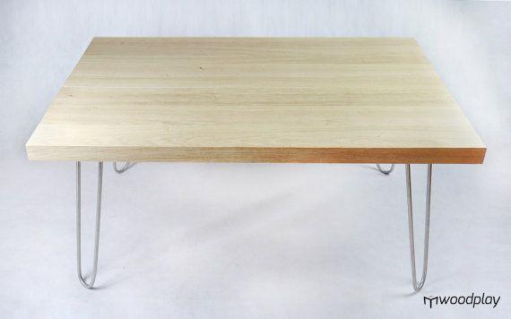 Oak Coffee table hairpin legs Oak table Stainless by Woodplay24