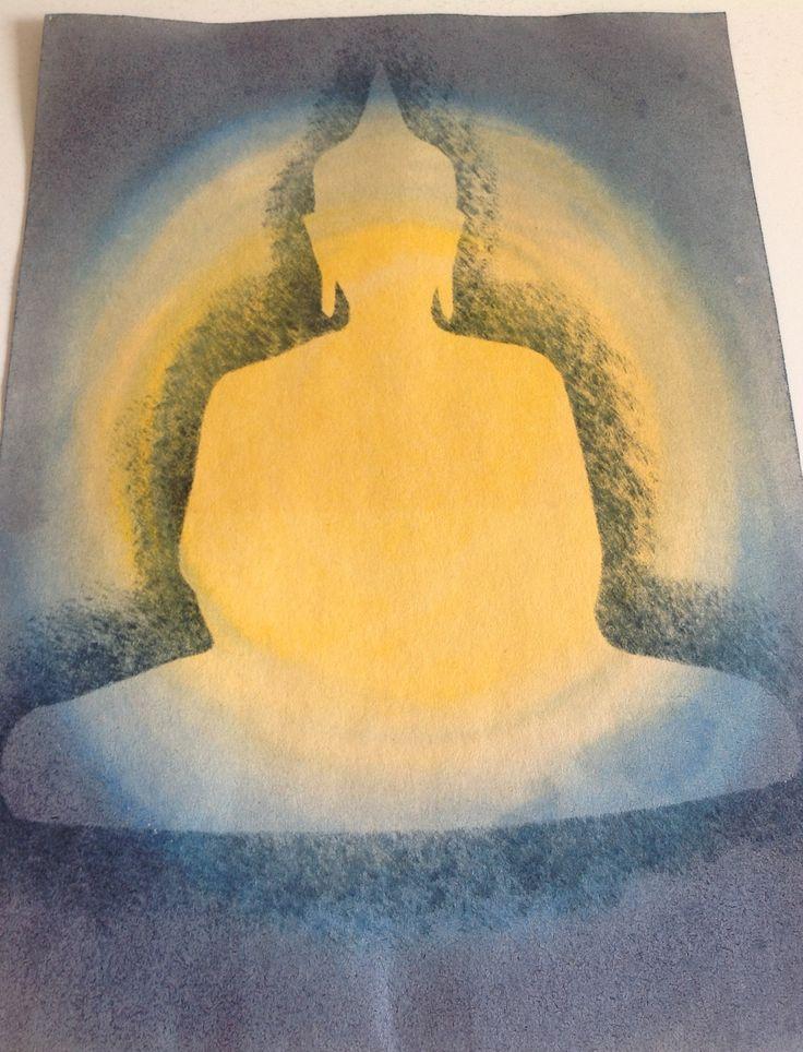 Schildering 5e klas, Vrije School, n.a.v. het verhaal over Boeddha.