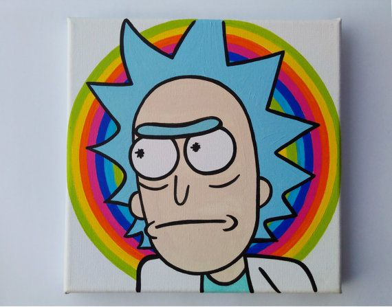 Rick Sanchez oil painting. Psychedelic! Better than a poster. From the adultswim cartoon Rick and Morty. Get schwifty!