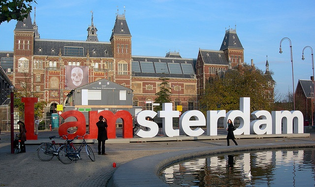 "{{AMSTERDAM, Holland}} The giant ""I Am Amsterdam"" sign on Museum Plein, behind the Rijksmuseum. Go there to eat your lunch in between visiting the Rijksmuseum (for Rembrandt and other Dutch art) and the Van Gogh museum (for impressionist artists)."