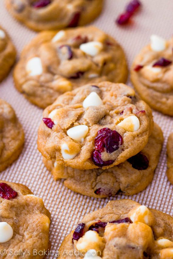 An easy recipe for white chocolate chip cranberry cookies. They bake up soft and thick in the center and chewy on the edges.