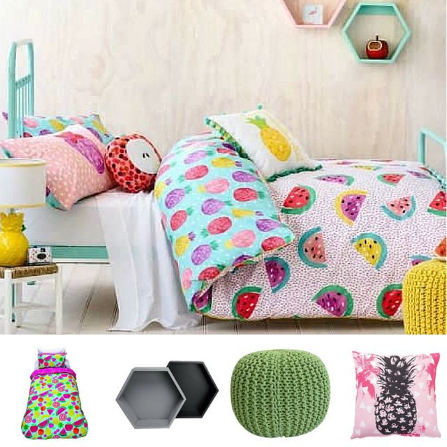 Keep your #kids in a #tropical mood this #autumn! #GettheLook with @thewarehousenz and: 1.  Kids #Napping #Duvet Cover Set #Fruit #Fiesta Single $15 2. #Living & Co #Wall #Shelf #Scandi MDF #Hexagon Set $25 3. Solano #Knitted #Foot #Stool Green $35 4. A'nD #Cushion #Summer #Life #Oxford $10 #thewarehousenzhacks #furniture #NewZealand  #thewarehousenz #interiors #house #styling #style #home #decor #shopthetrend Prices listed to the best of my ability and are NOT fixed by The Warehouse. Photo…