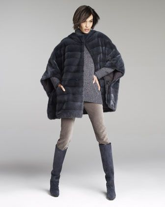 Loro Piana Mink Fur Cape, Allie Melange Turtleneck & Mathias Matte Velvet Pants - Neiman Marcus