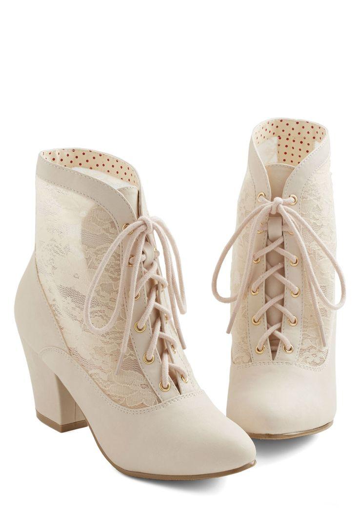 Lace Against Time Bootie in Cream | Mod Retro Vintage Boots | ModCloth.com