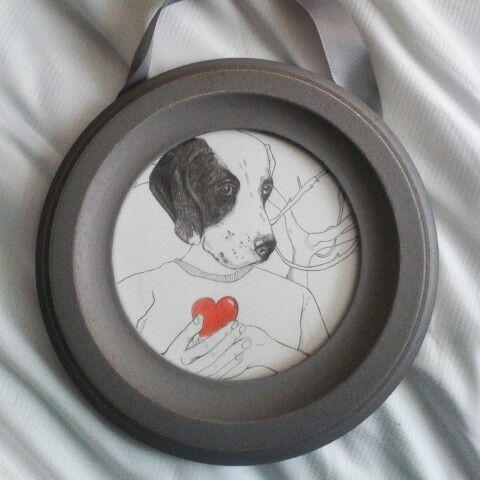 Ilustración Dog and heart♡ Lápiz grafito y lápices de colores Conté.