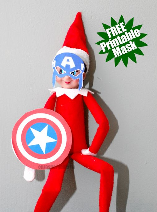 Captain America's mask and shield. | 18 Printables To Seriously Up Your Elf On The Shelf Game