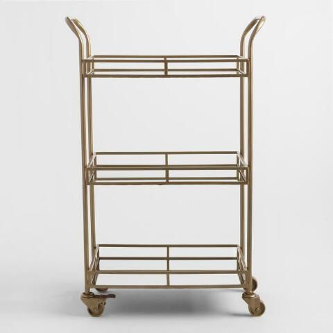 Gold Cole 3-Tier Rolling Bar Cart | World Market