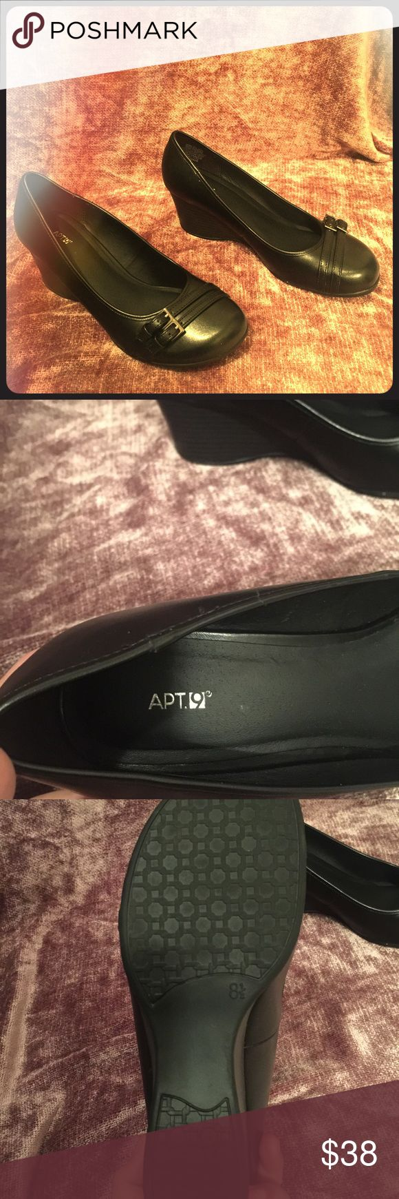Apt 9 Black Wedge Shoes Only worn twice. Super cute wedges in black. In PERFECT condition! 👠 Apt. 9 Shoes Wedges