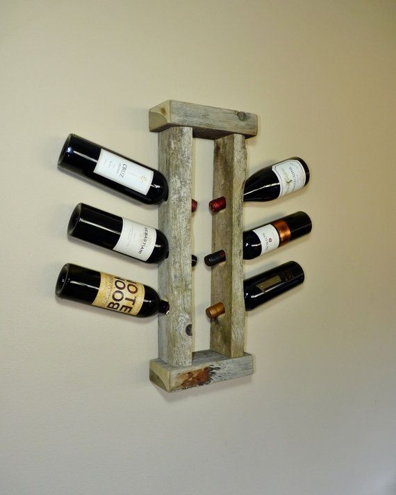 Barn Wood Wine Rack - What a great rustic way to display wine.