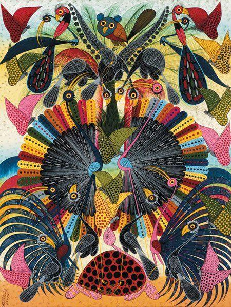 African Art: Tingatinga is a contemporary painting genre from #Tanzania, named after its founder self-taught painter, Edward [Eduardo] Said Tingatinga (1932 – 1972, b. Nakapanya formerly called Namochelia, Tanzania).