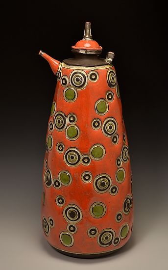 """""""Circle Teapot""""  Ceramic Teapot    Created by Boyan Moskov  Brown stoneware thrown on the wheel. All design is stamped in, handle and spout are applied. All colors are applied using a bulb syringe technique. Food and water safe."""