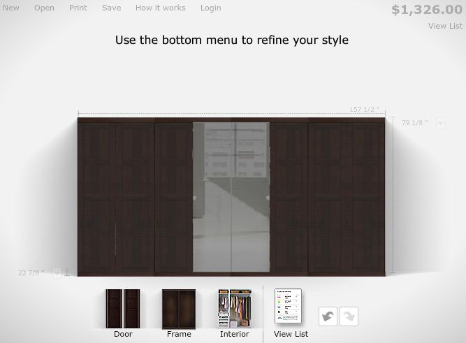 IKEA PAX wardrobe planner -- doors in Bergsbo black-brown ($49.50 each) + Vikedal mirror ($39.50 each). http://www.ikea.com/us/en/catalog/categories/departments/bedroom/tools/planner_pax/