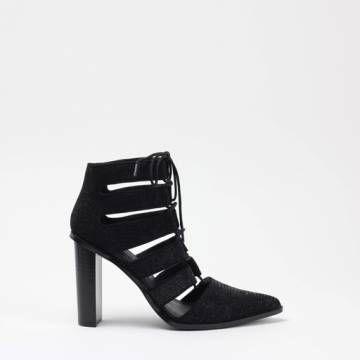 JEFFREY CAMPBELL TAFFY  Ebony Lizard Rubberised Ankle Boots