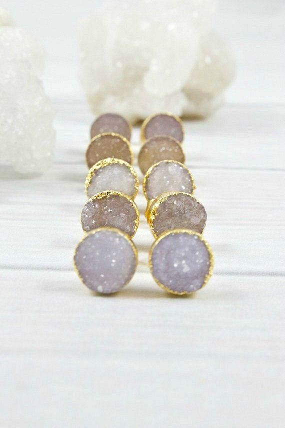 Druzy Earrings Gold Earrings Minimal by IrinasGemsandStamps