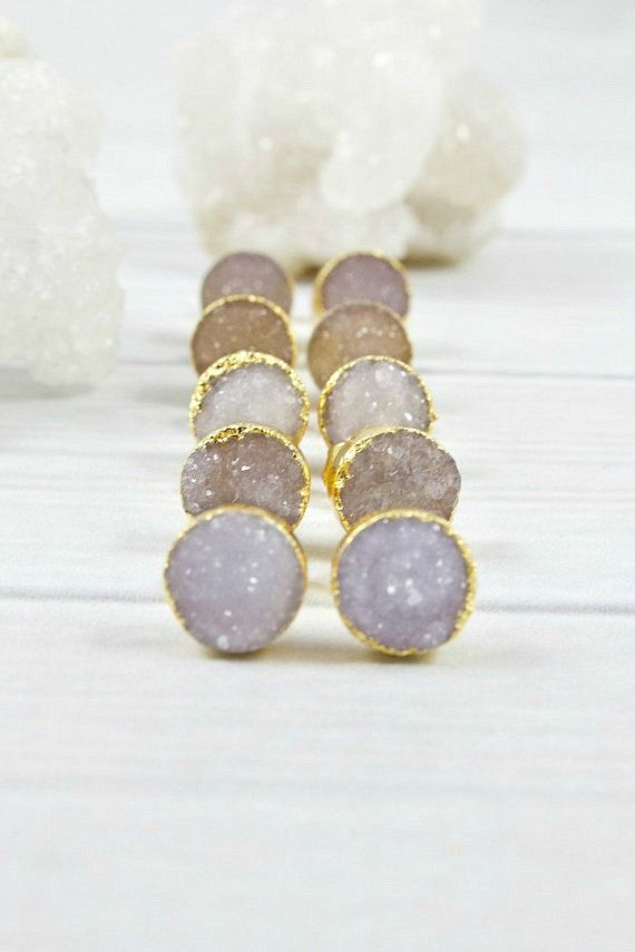 light grey druzy earring studs