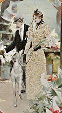 COUVERTURE COVER PAGE GRAVURE COSTUME MODE FASHION CHIEN LEVRIER FLEURISTE 1890