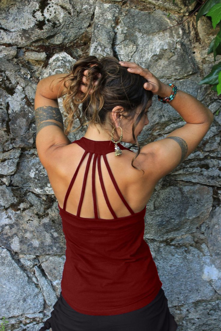 Peekaboo Tank Top-Womens clothing-Strappy shirt-red tops-sexy athletic-exercise tank-hippie goddess-elven clothing-tribal fairy top-aurora by aurorawear1 on Etsy https://www.etsy.com/listing/237207234/peekaboo-tank-top-womens-clothing