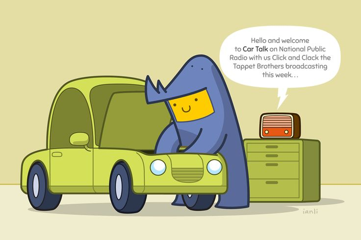 Carson listens to Car Talk - The Roundlings #cute #drawing #publicradio