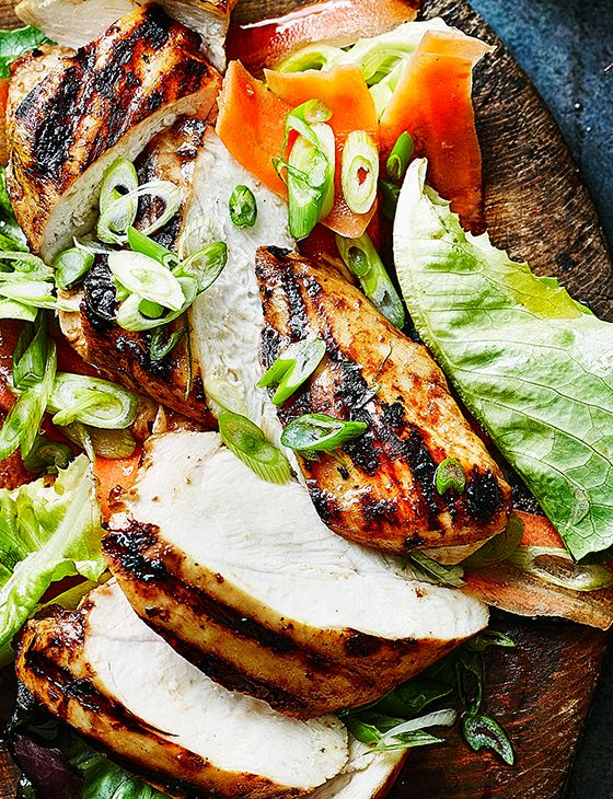 Miso-marinated chicken - Barbecued umami rich chicken on top of a crisp salad, perfect dish to serve up at barbecue.