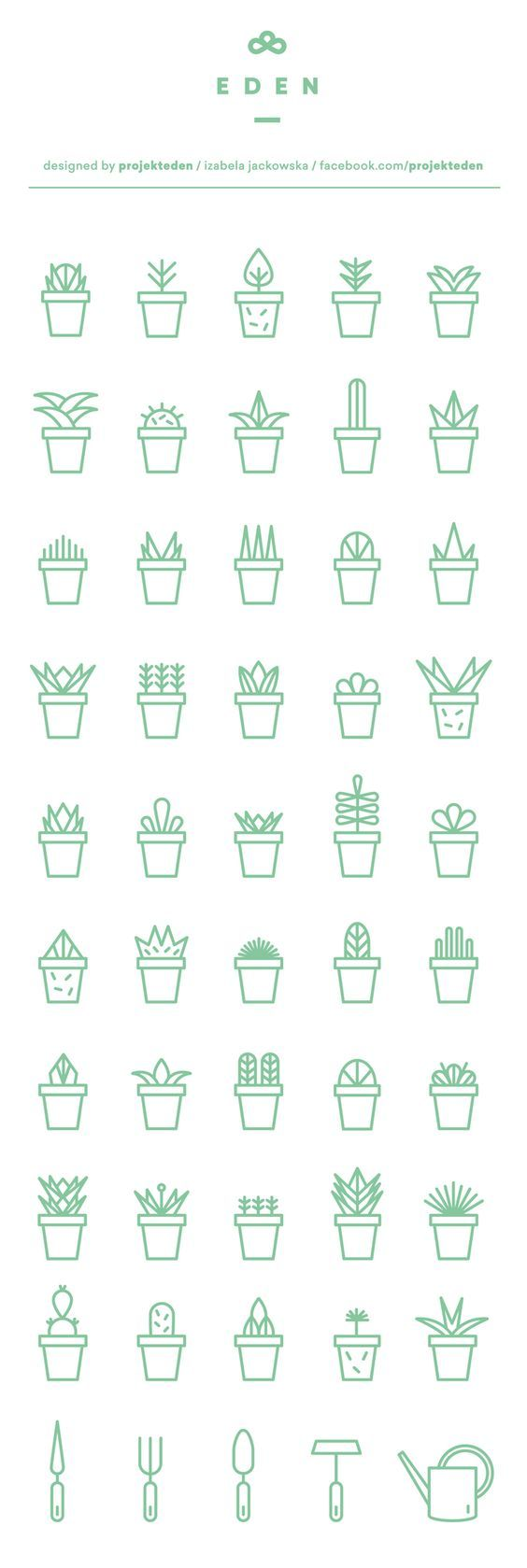 Succulent icon set | free download on Behance: