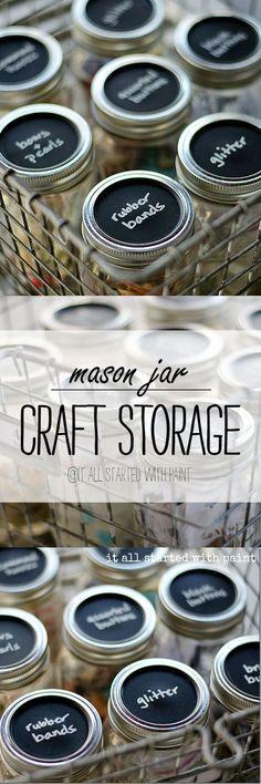 Craft Storage Ideas Using Mason Jars | Mason Jar Craft Storage | Mason Jar Craft Ideas | Chalkboard Paint Mason Jar Lids @It All Started With Paint
