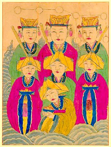 삼신 할머니 칠성신 the Birth Grandmothers depicted as Female Chilseong (Seven Stars Deity)