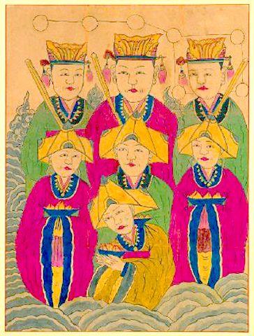 삼신 할머니 칠성신 the Birth Grandmothers depicted as Female Chilseong (Seven Stars Deity)