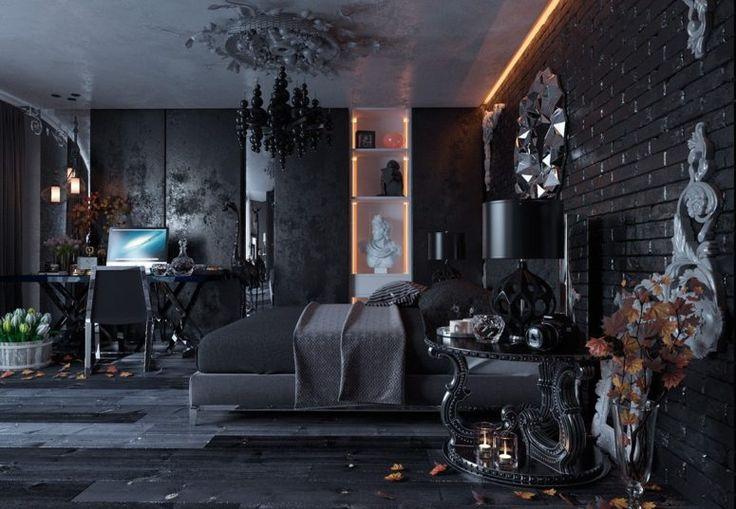 All-Black Modern Gothic Bedroom Design