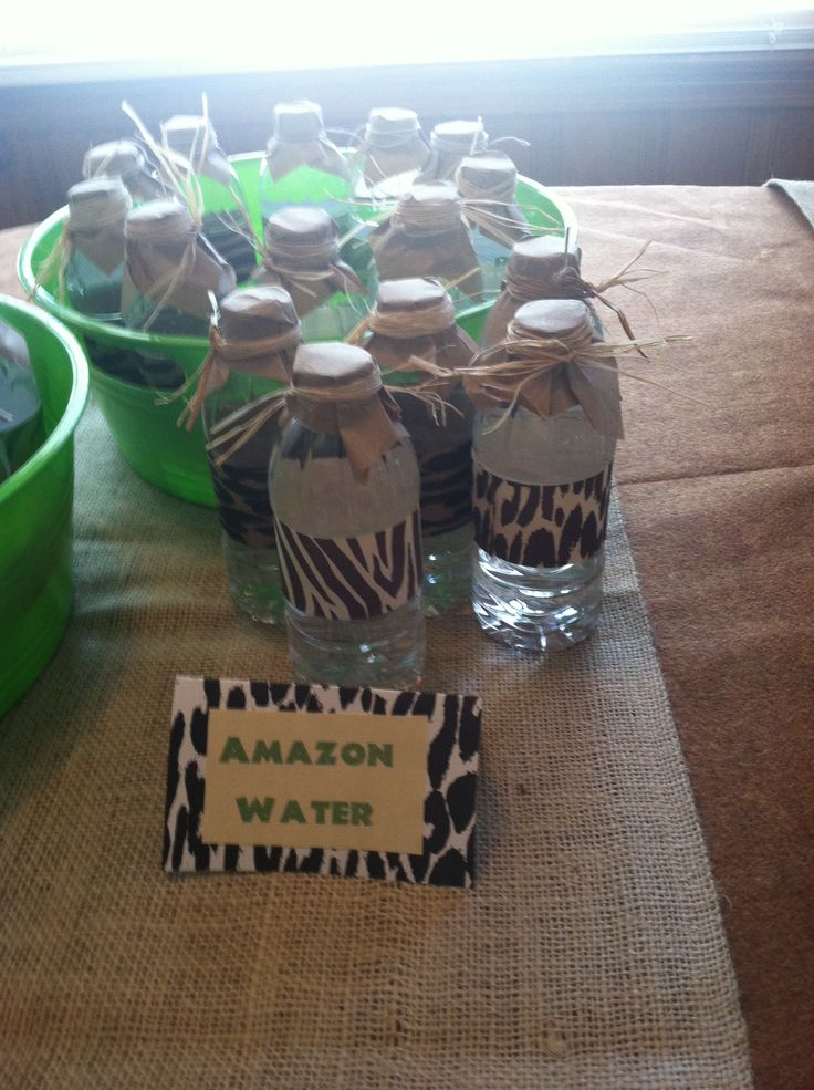 Water bottles for jungle party