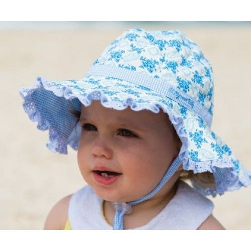 Baby Girls Floppy Hat - Evie Blue Cotton hat with gorgeous floral material with a check band and lace edging