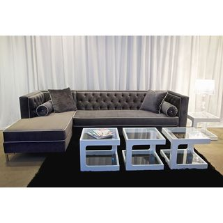 @Overstock.com - Tobias 8-Foot Sectional Sofa - Tobias lush lavish hand tufted sectional, plush grey micro-velvet fabric contrasting piping, hardwood frame construction and long lasting high density foam for a firm support seat and back cushion.  http://www.overstock.com/Main-Street-Revolution/Tobias-8-Foot-Sectional-Sofa/7673833/product.html?CID=214117 $2,533.99
