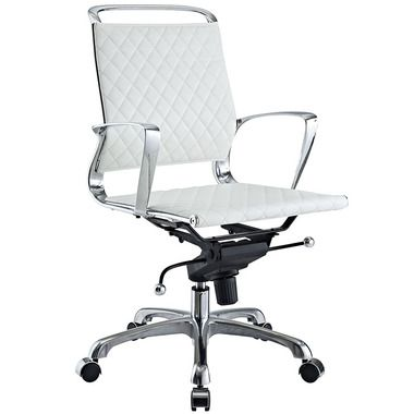 vibe adjustable metal frame mid back leather office chair in white