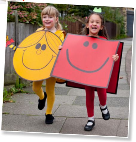 Nothing easier than these Mr Strong or Little Miss Sunshine costumes for World Book Day -- all you need are some big pieces of card.