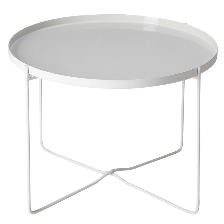 White and lacquered grey metal side table | Maisons du Monde