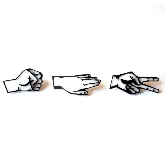 Rock Paper Scissors Pin Set by ShopBGoods on Etsy