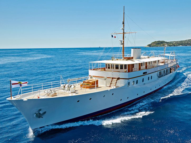"""""""MALAHNE"""" is a (165') Motor Yacht was Originally Built in 1937 for W.L. Stephenson, the Chairman of Woolworths in the United Kingdom"""