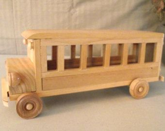 Reclaimed Wooden removable top Toy Bus for Children Kids Boys