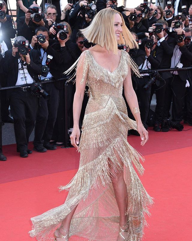 She wants to dance like Uma Thurman  That's a wrap on #cannes  via ELLE USA MAGAZINE OFFICIAL INSTAGRAM - Fashion Campaigns  Haute Couture  Advertising  Editorial Photography  Magazine Cover Designs  Supermodels  Runway Models