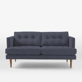 Peggy Mid-Century Loveseat in Painted Stripe, regal blue