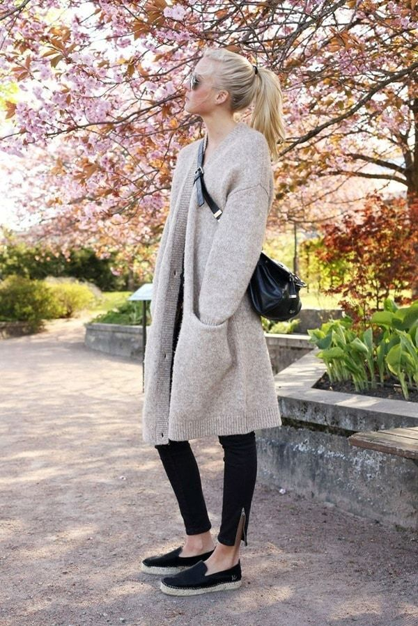 Stylish Chic Long Cardigan Outfits For Ladies (10)