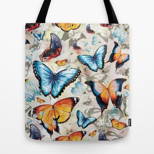Butterfly tote handbag original pattern design bright by Milenska, €18.00
