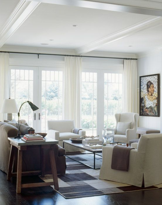 Hamptons Designer Showhouse 2008 Living Room: Have you ever seen slipcovers and a brick layer's table look so modern and chic?