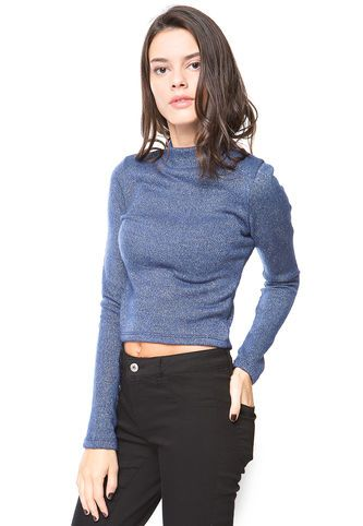 Sweater Knitted Crop Azul Atrevida By Eclipse Eclipse